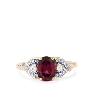Umbalite & White Zircon 9K Gold Ring ATGW 1.73cts