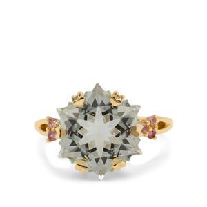 Wobito Snowflake Cut Prasiolite Ring with Pink Tourmaline in 9K Gold 7.35cts