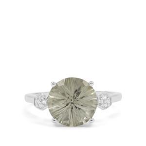 Honeycomb Cut Prasiolite & White Zircon Sterling Silver Ring ATGW 3.35cts