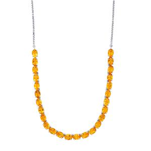 18.29ct Diamantina Citrine Platinum Plated Sterling Silver Necklace