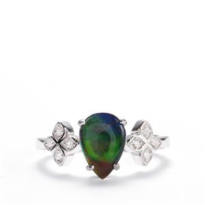 AA Ammolite Ring with White Zircon in Sterling Silver (10mm X 7mm)
