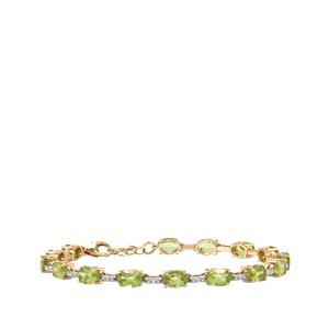 Changbai Peridot Bracelet with Diamond in 10K Gold 8.39cts
