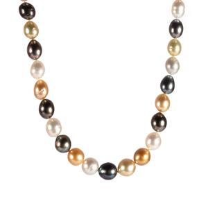 Tahitian, South Sea & Golden South Sea Pearl Sterling Silver Necklace (10x8mm)
