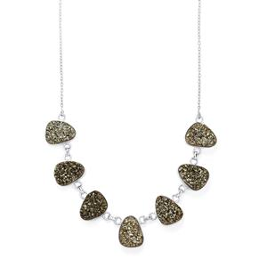Marcasite Black Drusy Necklace in Sterling Silver 51.63cts