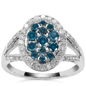 Blue Diamond Ring with White Diamond in 9k White Gold 1ct