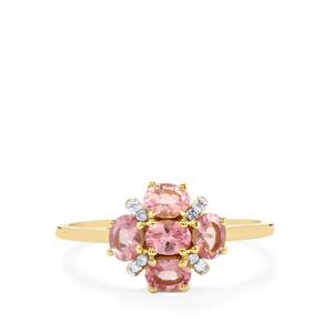 Mozambique Pink Spinel Ring with Diamond in 10k Gold 0.96ct