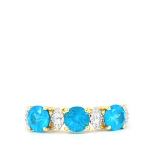 Neon Apatite Ring with White Zircon in 9K Gold 1.51cts