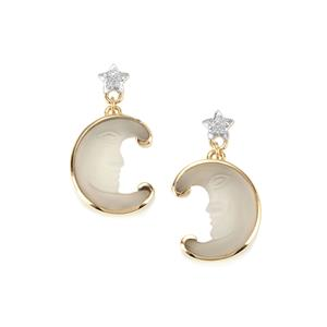 Lehrer Man in the Moon White Chalcedony Earrings with Diamond in 9K Gold 7.50cts