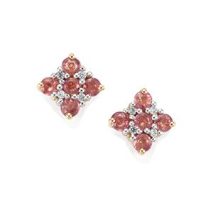 Padparadscha Sapphire Earrings with White Zircon in 10k Gold 1.33cts