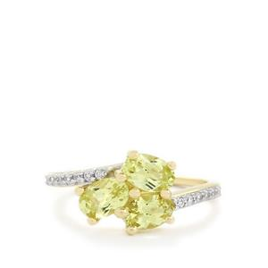 Brazilian Chrysoberyl & White Zircon 10K Gold Ring ATGW 1.71cts