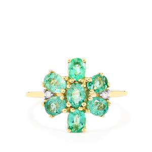 Zambian Emerald & White Zircon 9K Gold Ring ATGW 1.64cts