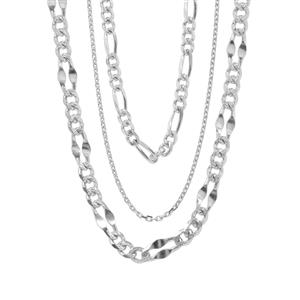 "18"" Sterling Silver Set of 3 Chain 7.37g"