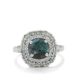 Grandidierite, Alexandrite & White Zircon Sterling Silver Ring ATGW 3cts