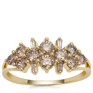 Champagne Diamond Ring in 9K Gold 1cts