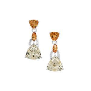 Serenite, Diamantina Citrine & White Zircon Sterling Silver Earrings ATGW 7.46cts