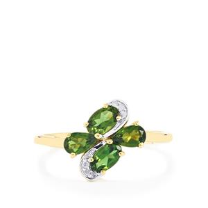 Chrome Tourmaline Ring with Diamond in 9K Gold 0.79cts