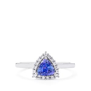 AA Tanzanite Ring with White Zircon in Platinum Plated Sterling Silver 0.93ct