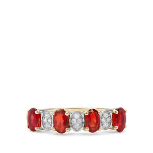 Songea Ruby & White Zircon 9K Gold Ring ATGW 1.28cts