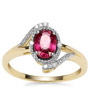 Savanna Pink Garnet Ring with Diamond in 9K Gold 1.09cts