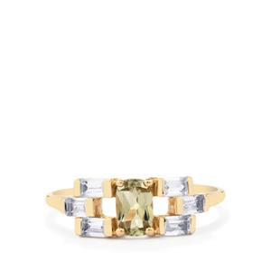 Csarite® Ring with White Zircon in 10k Gold 1.32cts