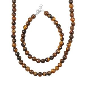Tiger's Eye Set of Necklace and Bracelet in Sterling Silver 135cts