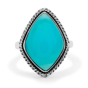 Aqua Chalcedony Ring in Sterling Silver 9cts