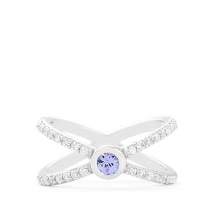 Tanzanite & White Zircon Sterling Silver Ring ATGW 0.97cts