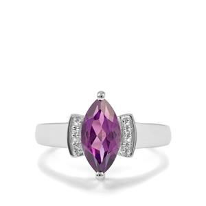 Zambian Amethyst & White Topaz Sterling Silver Ring ATGW 1.60cts