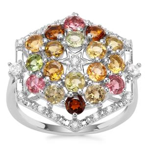 Tutti-Fruiti Tourmaline Ring with White Zircon in Sterling Silver 2.32cts