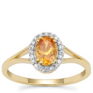 Mandarin Garnet Ring with White Zircon in 9K Gold 1.05cts