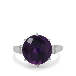 Zambian Amethyst Ring with White Zircon in Sterling Silver 5.90cts