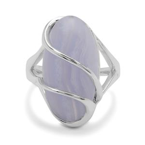 Blue Lace Agate Ring in Sterling Silver 12.08cts