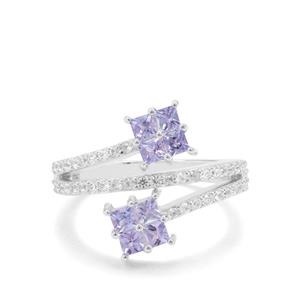 Tanzanite & White Zircon Sterling Silver Ring ATGW 1.31cts