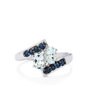Pedra Azul Aquamarine Ring with Natural Blue Sapphire in Sterling Silver 1.20cts