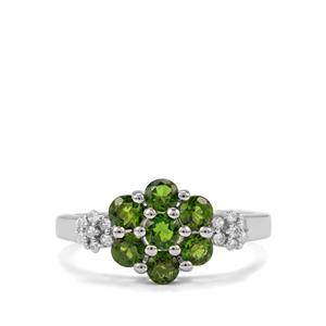 Chrome Diopside & White Zircon Sterling Silver Ring ATGW 1.26cts