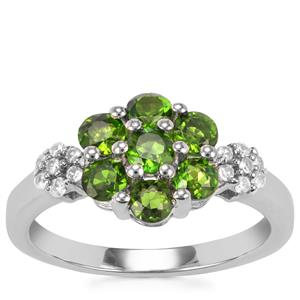 Chrome Diopside Ring with White Zircon in Sterling Silver 1.26cts