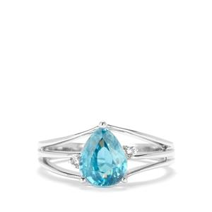 Ratanakiri Blue Zircon Ring with White Topaz in Sterling Silver 2.54cts