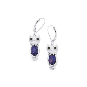 Lapis Lazuli Earrings with Black Spinel in Sterling Silver 5.23cts