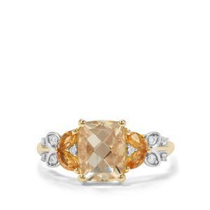 Serenite, Diamantina Citrine & White Zircon 9K Gold ATGW 2.43cts