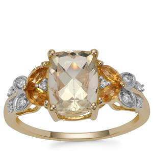 Serenite Diamantina Citrine Ring with White Zircon in 9K Gold 2.43cts