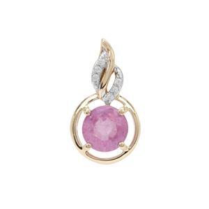 Ilakaka Hot Pink Sapphire Pendant with White Zircon in 9K Gold 0.85ct (F)
