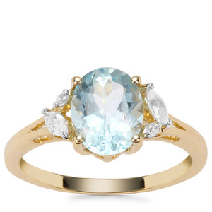 Madagascan Aquamarine Ring with White Zircon in 9K Gold 1.87cts