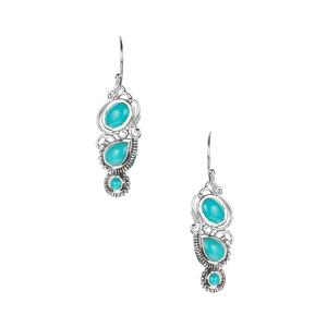 Samuel B Sleeping Beauty Turquoise Earrings in Sterling Silver 2.10cts