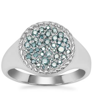 Blue Diamond Ring in Sterling Silver 0.49ct