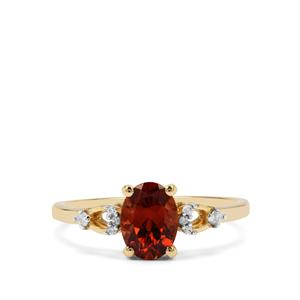 Zanzibar Sunburst Zircon Ring with White Zircon in 9K Gold 1.89cts