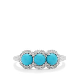 Sleeping Beauty Turquoise Ring with White Zircon in Sterling Silver 1.45cts