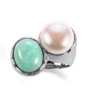 Amazonite Sarah Bennett Ring with Kaori Cultured Pearl in Sterling Silver