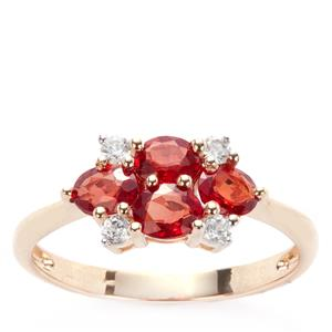Winza Ruby Ring with White Zircon in 9K Gold ATGW 1.62cts