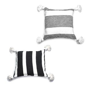 Gem Auras Handwoven Monochrome Tassel Cushion 45 x 45cm - .01=Black / .02=Grey