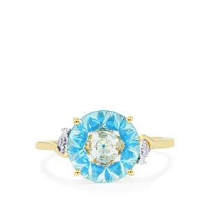 Lehrer KaleidosCut Sky Blue Topaz, Neon Apatite Ring with Diamond in 10K Gold 3.45cts